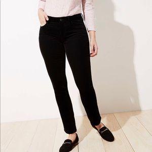 LOFT Curvy Black Straight Leg Corduroy Pants